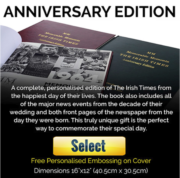 Irish Times Newspaper Book - Anniversary Edition