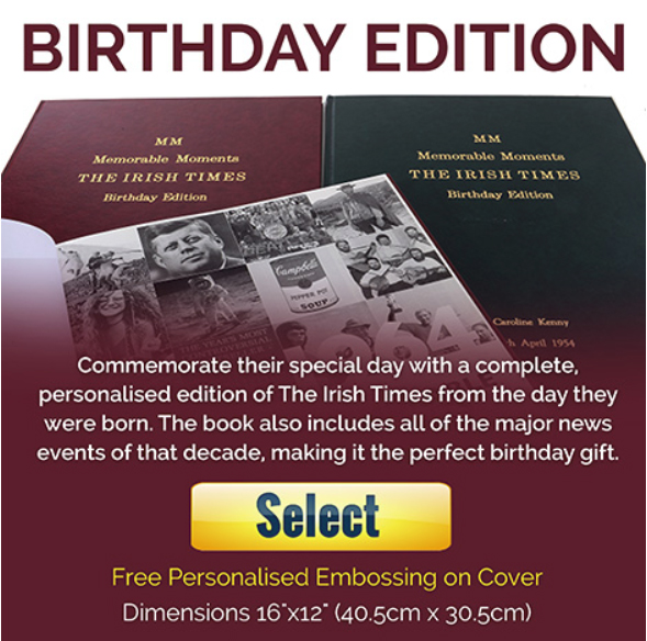 Irish Times Newspaper Book - Birthday Edition